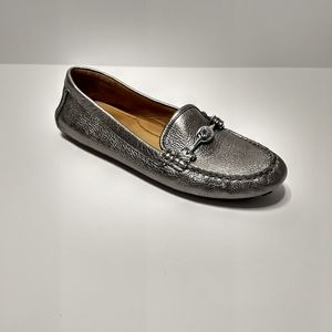 Coach Leather Metallic Silver Arlene Loafer 10B